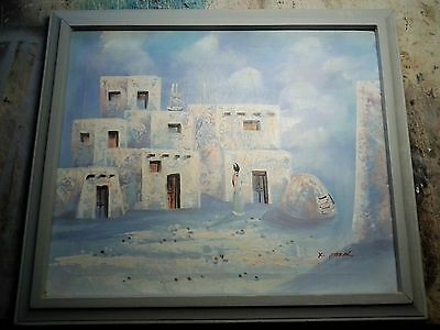 New Mexico Pueblo Oil Canvas Vintage Mid-Century Painting signed K.Mescal 23x27