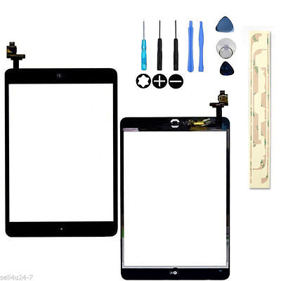 Black Touch Glass Digitizer Screen + Home Button  IC Connector For iPad Mini 1 2