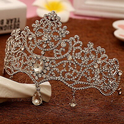 10cm High Dangly Drip Full Crystal Tiara Crown Wedding Bridal Prom Party Pageant