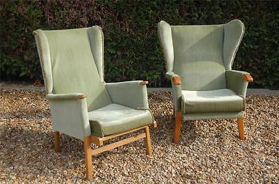 Smashing Vintage Green Wingbacked Armchairs - (1+1 His N Hers) - Project