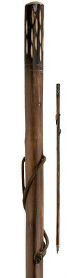 Rustic Hiking Walking Sticks Canes Thick Chestnut Carved Wood Farmer Sticks 46""
