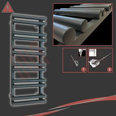 """500mm(w) x 1200mm(h) Pre-filled Electric """"Totem"""" Anthracite Towel Rail - 300W"""