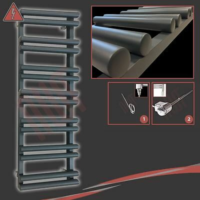 "500mm(w) x 1500mm(h) Pre-filled Electric ""Totem"" Anthracite Towel Rail - 600W"