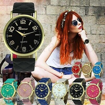 New Formal New Women Ladies Watch Faux Leather Stainless Steel Wrist Watches