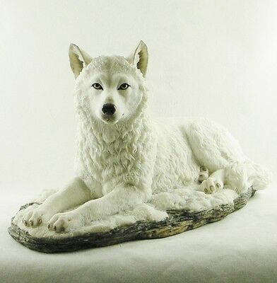 Laying White Wolf Statue | White Shadow Hand Painted Figurine by Veronese | NEW