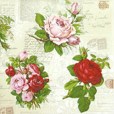 4x Paper Napkins for Decoupage Decopatch Craft English Roses