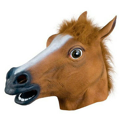 Horse Head Rubber Mask Panto Fancy Dress Cosplay Adult Costume @ht