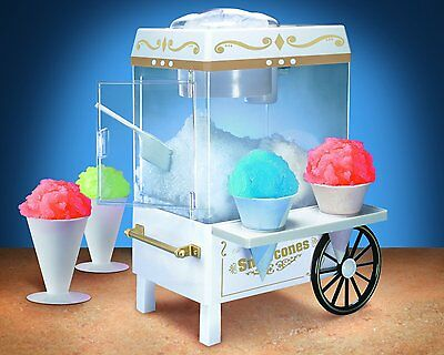 Vintage Snow Cone Maker Electric Shaved Ice Machine Nostalgia Shaver Small Cart