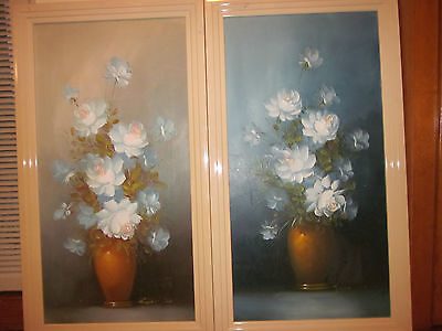Robert Cox-Vintage Pair of 13x25 Canvas Florals-In 151/2 x 271/2 Frames-REDUCED!