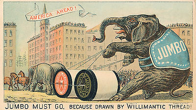 1890-1899 Jumbo Willamantic Thread Victorian Trade Card, Great Condition