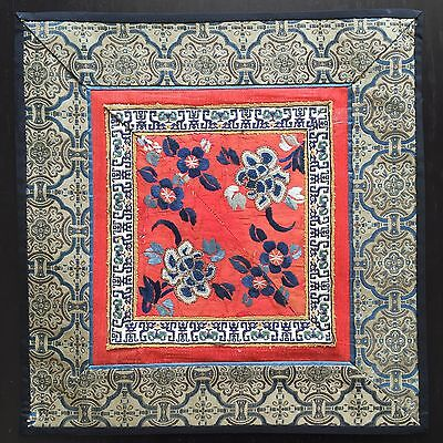 Fine Old Chinese Peking Silk Embroidery Art Forbidden Stitch Flowers Square NR