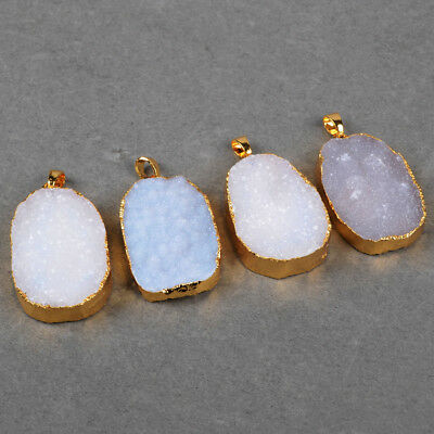 5Pcs Natural Blue Lace Chalcedony Druzy Pendant Bead Gold Plated Edge BG0716
