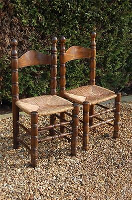 Smashing Pair of Chunky Pine Kitchen Chairs with Rattan Seats