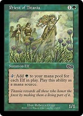 Overig ~ Magic The Gathering Priest of Titania ~ Urza's Saga ~ NearMint/Excellent