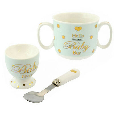 Christening Gift Egg Cup Saucer Spoon Set Baby Shower Ceramic Feeding Gifts Box