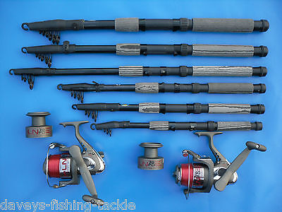 2 CARBON TELESCOPIC RODS+LN70 REELS 6,7,8,9,10,12 ft SPINNING TRAVEL PIKE BASS