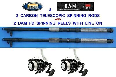 2 CARBON TELESCOPIC RODS+RD60 REELS 6,7,8,9,10,12 ft SPINNING TRAVEL PIKE BASS