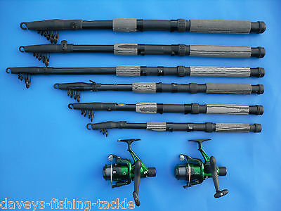 2 CARBON LINEAEFFE TELESCOPIC RODS+SOL REELS 6,7,8,9,10,12 ft SPINNING PIKE BASS