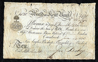 Weald Of Kent Bank Provincial Banknote £10 Ten Pounds High Denomination 1813