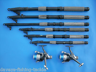 2 CARBON TELESCOPIC RODS+SHIVER REELS 6,7,8,9,10,12 ft SPINNING TRAVEL PIKE BASS
