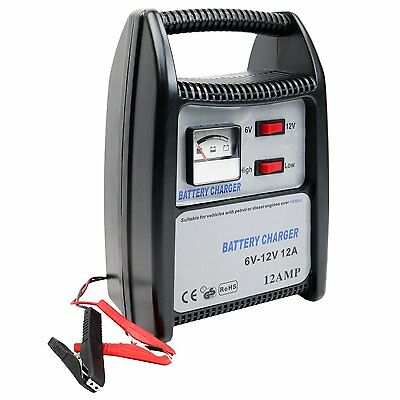 12 Amp 12V Compact Portable Car Van Vehicle Battery Charger Starter