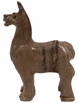 "Hand-Carved Peruvian 3"" BROWN SOAPSTONE LLAMA (2258)"