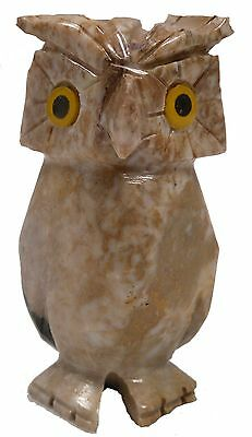 "Hand-Carved Peruvian 3"" SANDY BROWN SOAPSTONE OWL (7551)"