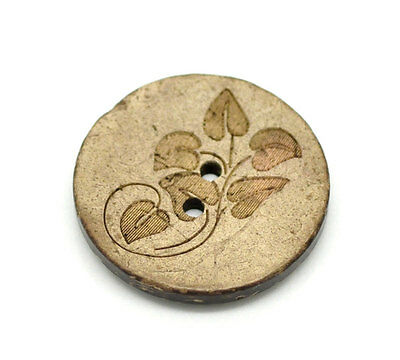 30 Large Coconut Wood Buttons 1 inch  Wood Buttons - Leaf Pattern 19208