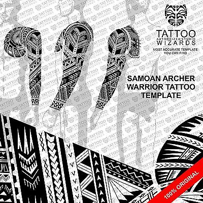 Maori Samoan Polynesian Archer WARRIOR TATTOO Stencil Template