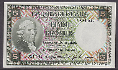 Iceland, Landsbanki Islands P-32a CU. 1928 5 kroner Banknote, Choice