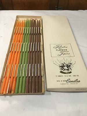 """Vintage Box of 12 Orange Green Brown Candles Flower Tapers 15"""" Baumer FALL Color"""