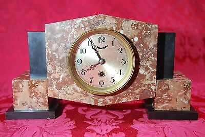 Art Deco 1930's Red Black Marble Mantel Clock Winding with Key Signed YGL/31 14""