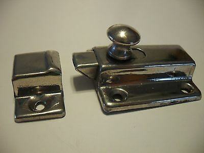 Vintage NOS NICKEL Plated BRASS Hoosier Cabinet Cupboard Door Spring Slide Latch