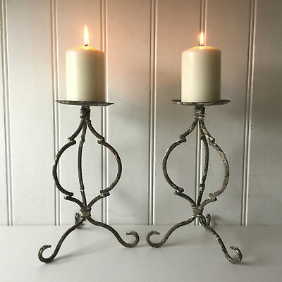 2 Antique French Vintage Style Rustic Metal Candle Holders Candlestick Set of 2