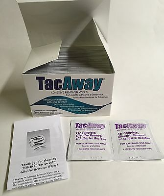 Torbot Tacaway Wipes Adhesive Remover Box Of 50 Wipes!  Free Shipping!