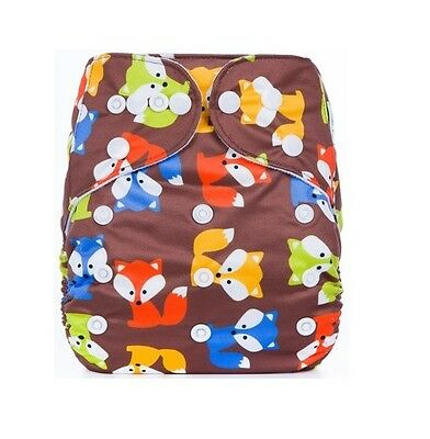 Modern Cloth Reusable Washable Baby Nappy Diaper & Insert, Brown Fox