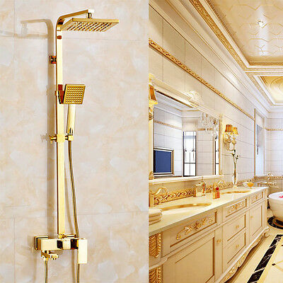 """Gold Bathroom Square 8"""" Rainfall Shower Faucet Set Tub Mixer Tap with Hand Spray"""