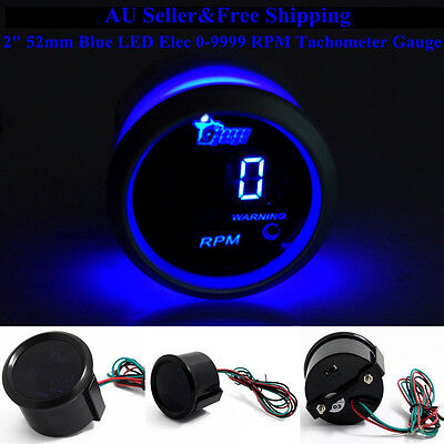 "AU 2"" 52mm Blue Digital LED Elec 0-9999 RPM Tachometer Tacho Gauge Car Motor"