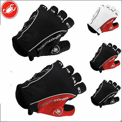 Genuine Castelli Half Finger Cycling Bicyle MTB Bike Gloves Anti Skid Silicone