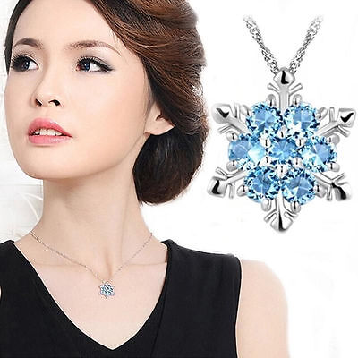 Hot Women Silver Blue Crystal Snowflake Flower Charm Pendant Necklace Jewelry