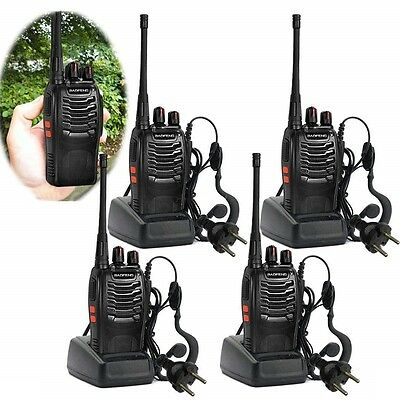 4pcs Walkie Talkie BaoFeng UHF 400-470MHZ 2Way 16CH BF-888S Earpiece UK Charger