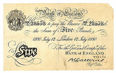 White Fiver £5 B. G. Catterns Prefix ---/J July 1930 Bank Of England Pre-War