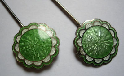 Antique Pair Sterling Silver Green Guilloche Enamel Swivel Top Hatpins