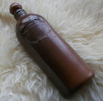 Old Germany Destillat Schnapps Bottle Stoneware Pottery Flask Liquor Crock