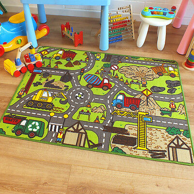 Superb Childrens Kids Rug Construction Site Road Map Play Mat 100cm x 133cm
