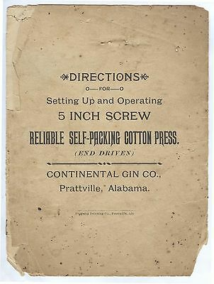 1900 Daniel Pratt Continental Cotton Gin Company Prattville Alabama INSTRUCTIONS