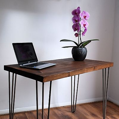 Retro Rustic Industrial Solid Wood Desk - Metal 3-Prong Hairpin Legs, Dark Wood
