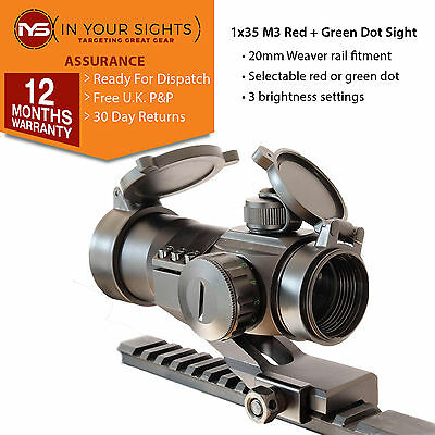 M3 Airsoft red dot sight / 1x35 illuminated red +green dot / Weaver rail fitment