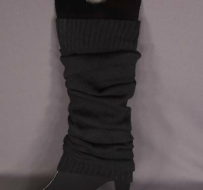 Black knit leg warmers knee thigh high under tall long boot cuffs welly liners