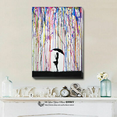 Umbrella Girl Stretched Canvas Print Framed Wall Art Home Kids Decor Painting AU